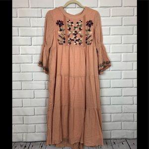 NWT's Orange Creek Dress sz S Peach Embroidered
